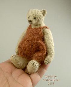 Verity, One Of a Kind Miniature Mohair Teddy Bear from Aerlinn Bears