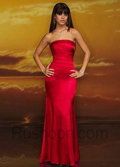 Red Strapless Satin Prom Dress