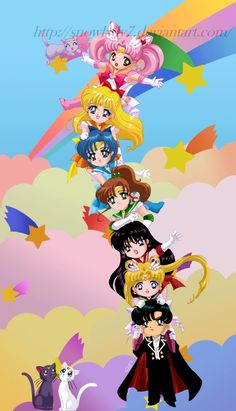 Sailor moon chibi-team tower by on deviantART Luna Sailor Moon, Sailor Moon Fan Art, Sailor Chibi Moon, Sailor Jupiter, Sailor Venus, Sailor Mars, Sailor Moon Crystal, Sailor Neptune, Gatomon