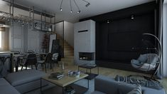 Loft House, Nordic Style, Conference Room, Living Room, Scandinavian, Kitchen Ideas, Table, Furniture, Design