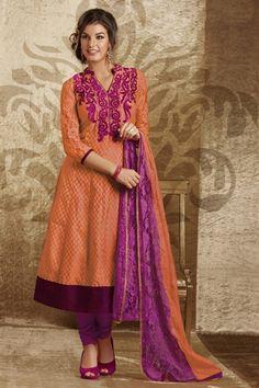 Ravishing orange & purple cotton silk & chantilly suit (Unstitched suit)