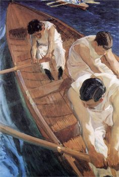 In the Racing Shell - Joaquín Sorolla