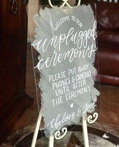 Event sign customizable unplugged ceremony menu