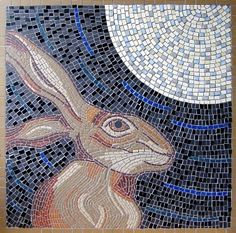 """""""Hare and Moon"""" mosaic by Sue Kershaw"""