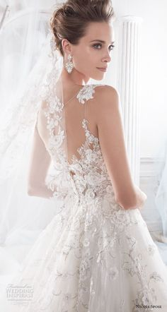 nicole spose 2018 bridal sleeveless scoop neckline heavily embellished bodice romantic a line wedding dress sheer lace back chapel train (8) zbv