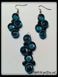 Quilling earrings and pendant set 16