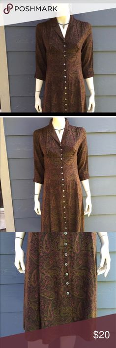 Eddie Bauer multi color dress 3/4 slv Empire sz P8 Eddie Bauer woman dress multi color paisley 3/4 sleeve bottom down Empire waist size p8. NEW WITH TAGS!     Bottoms are made of real shell! Eddie Bauer Dresses Midi