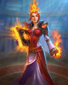 Archivist Elysiana - Hearthstone art by BobPyro on DeviantArt Fantasy Warrior, Fantasy Girl, Dark Fantasy, Warcraft Art, World Of Warcraft, Fantasy Characters, Female Characters, Witch Characters, Wow Mage