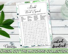 Word Search Bridal Shower Word Search Botanic Watercolor Bridal Shower Word Search Bridal Shower Botanic Watercolor Word Search Green 1LIZN #bridalshower #bride-to-be #bridetobe