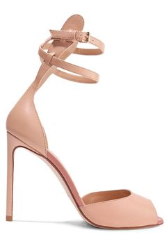 Heel measures approximately 105mm/ 4 inches Beige leather Buckle-fastening ankle strap  Made in Italy