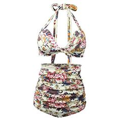 Womens Chic Retro Floral Print Halter High Waist Swimsuit Bathing Suit Bikini Set Small Beige Peony * To view further for this item, visit the image link. (This is an affiliate link) Cut Out Bikini, Push Up Bikini, Bikini Set, Bikini Swimsuit, G Strings, Bikini Floral, Black High Waisted Bikini, Pin Up, Style Retro
