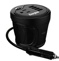 ENERGIZER 180W Cup Inverter: 12V DC cigarette lighter to 120V AC to power laptop notebook & more w/ 4 USB ports 2.1A shared compatible with iPad & more by Energizer. #Charger #Auto #Cup_Inverter