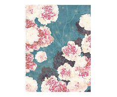 Affiche NIGHT PEONIES ON BLUE - 40*53