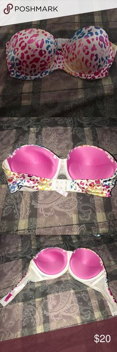 PINK Multi-Way Push-Up Bra Without Straps PINK by Victoria's Secret Multi-Way Push-Up Bra size 36D Without Straps! White With Rainbow Cheetah Print! Great Condition! PINK Victoria's Secret Intimates & Sleepwear Bras