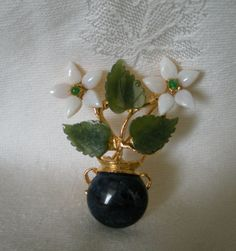 Swoboda Flower Vase Pin Sodalite Jade Opal and Peridot