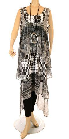 Mat Black And White Jersey & Chiffon Layered Effect Dress - Summer 2013