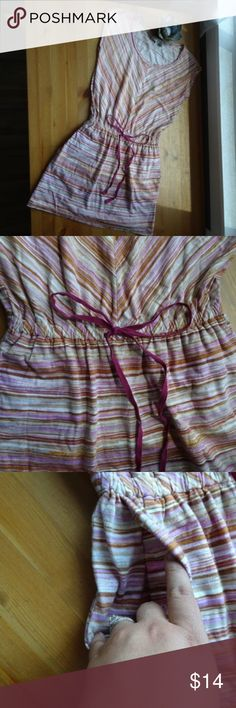 LOFT Casual Sleeveless Striped Drawstring Dress Excellent condition sleeveless dress Multi color of basically all the warm colors Drawstring drop waist 100% Cotton  machine wash line dry Has pockets stitching detail on the outside of seams as shown in the last pictures. Perfect lounge dress or pool cover up!  All items come from a non-smoking home! LOFT Dresses