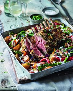 Rack of lamb, potato and pepper tray roast | delicious. magazine Tray Bake Recipes, Lamb Recipes, Savoury Recipes, Unique Recipes, New Recipes, Recipies, Sausage Tray Bake, Roast Rack Of Lamb, Tenderstem Broccoli