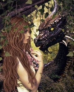 Lady and the dragon Dark Fantasy Art, Fantasy Artwork, Magical Creatures, Fantasy Creatures, Elfen Fantasy, Dragon Dreaming, Dragon Artwork, Cool Dragons, Beautiful Dragon