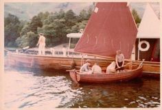 Swallow about to leave the Houseboat on Derwentwater whilst filming in 1973. Simon West, Suzanna Hamilton, Sophie Neville and Stephen Grendon play the Walker children. Property Master Bob Hedges is on deck ~ photo Daphne Neville