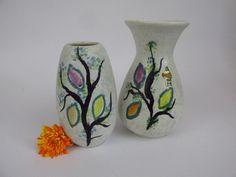 Vintage Keramik Vasen-Set / Jasba / 101 14 und 581 16   West German Pottery   60er von ShabbRockRepublic auf Etsy