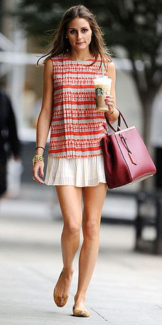 Olivia Palermo's daytime outfit is fab on its own, and would be perfect for night with a silky blazer.