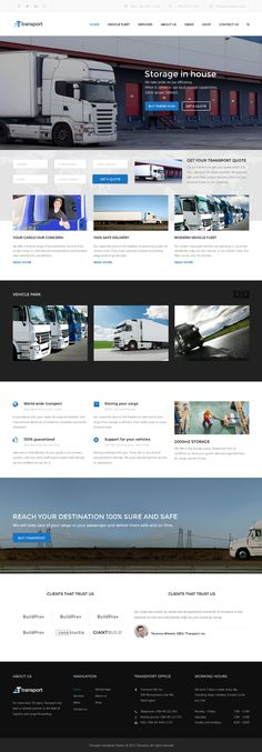 Buy Transport - WP Transportation & Logistic Theme by Anps on ThemeForest. Transport is a WordPress business theme. It is focused on building websites in the Transport, Transportation, Logisti. Ui Website, Website Layout, Website Themes, Web Layout, Photography Themes, Building A Website, Web Design Company, Site Internet, Template