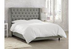 Sophia Tufted Wingback Bed, Gray Linen