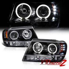 1999-2004 Jeep Grand Cherokee WJ WG Black LED Halo Angel Eye Projector Headlight #VenomInc