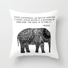 Buddha Quote with Henna Elephant Throw Pillow by Madeline Margaret -