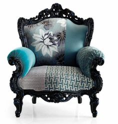 Love the black carved wood with the rich blues and greys....and how ornate it is, of course:)