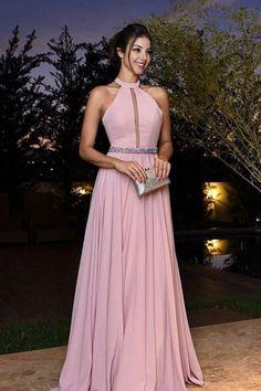 Simple pink chiffon A line long prom dress,pink evening dresses