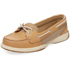 Sperry Women's Laguna Leather Boat Shoe - Cream/Tan, Size 10 ($60) ❤ liked on Polyvore featuring shoes, loafers, boat shoes, leather deck shoes, sperry, synthetic leather shoes and adjustable shoes