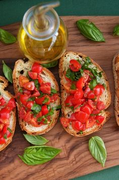 I love Bruchetta:) (I made this, with a few tweaks like using a baguette for bread, and it was sooo easy and yummy. It made me feel like I needed to be hosting a dinner party or something.)