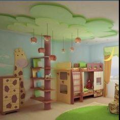 Zoo themed kids room. Love the tree!!!!
