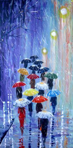 Original Painting Umbrellas2  Acrylic Rain by ArtonlineGallery, $170.00
