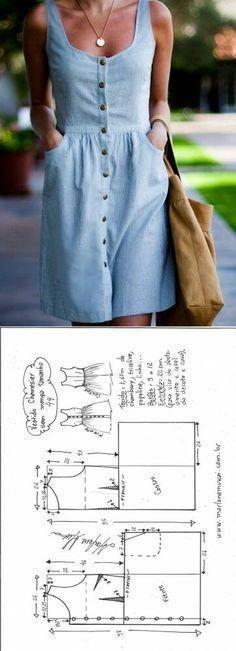 Maillot de bain : Dress for summer…♥ Deniz ♥… - DIY Clothes Jeans Ideen Dress Sewing Patterns, Vintage Sewing Patterns, Clothing Patterns, Pattern Sewing, Pattern Dress, Tutorial Sewing, Free Pattern, Crochet Patterns, Fashion Sewing