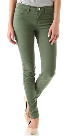 J Brand hunter green perfect for fall. From @Shopbop