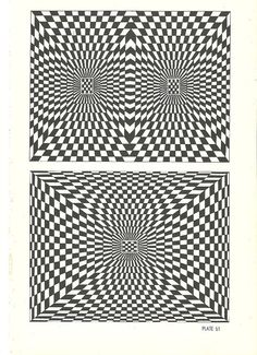 vintage black & white optical illusion art by RecycleBuyVintage, $8.00