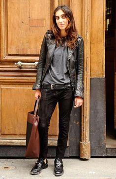 これぞパリジェンヌ!マニッシュな黒がクール French Fashion, Leather Jacket, Jackets, Studded Leather Jacket, Down Jackets, Leather Jackets, Jacket, Fur Jacket, Cropped Jackets