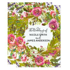 Greenery Spring Pink Floral Flowers Wedding Card - invitations personalize custom special event invitation idea style party card cards