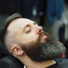 Carefully sculpted beard and smooth bald fade.  Doors open at 830am tomorow  #barber #fade #scissorsalute #lineup #texture #menshair #collinsstreet #dapper #bespoke #design #fashion #mensgrooming #barbering #beard #thebarberpost #nastybarbers #barbershopconnect @thebarberpost @barbershopconnect by rokkmanbarbers Short Beard, Sexy Beard, Great Beards, Awesome Beards, Bald Look, Beard Cuts, Beard Shapes, Curly Hair Men, Mens Hair