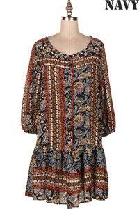 PAISLEY PRINT DRESS. 13B-D4773