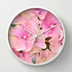 Pink Hydrangeas Wall Clock by Lisa Argyropoulos Pink Hydrangea, Hydrangeas, Best Wall Clocks, Dream House Interior, Tic Toc, Cool Walls, Interior And Exterior, Lisa, Home Decor