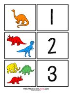 Dinosaur Preschool Printables - counting cards, pattern cards and more