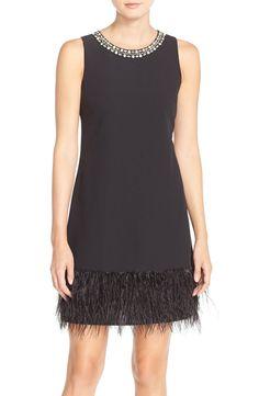 embellished fringe crepe a-line dress