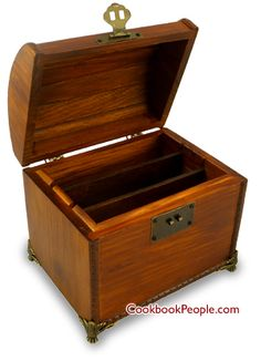Wooden Recipe Box with Antique-Style Latch and Pedestal Feet