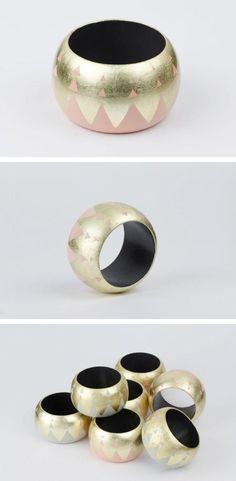 Lovely pastel and gold bangles, lacquered by hand in France. #etsyjewelry