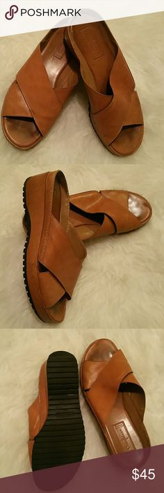 Cole Haan studio wedge sandals Beautiful leather with an oxidized tan patina. Typical Cole Haan comfort. Worn but not often or regularly, so both soles and insoles are in very good condition. These are waaaay more comfortable than Birkenstocks! Size 9B. Cole Haan Shoes Sandals