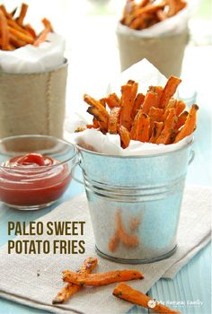 This Paleo Sweet Potato Fries recipe is a great side dish for any dinner recipe or make these for a delicious snack!